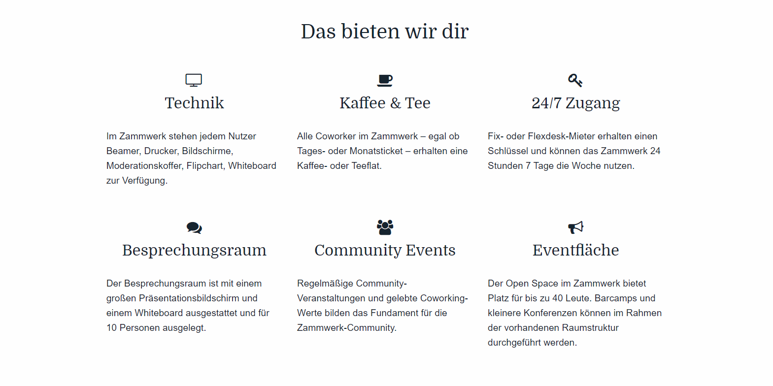 Features Zammwerk Coworking Space Chemnitz