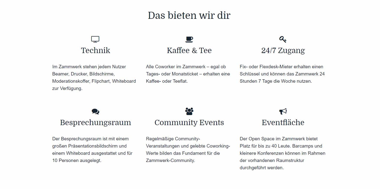 Features Zammwerk Coworking Space Chemnitz